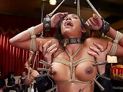 Really wild Aiden Starr takes part in horny orgy with some spectators