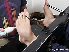 Young stud Logan N restrained for rough feet tickling