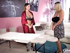 Busty lesbians Krystal Swift & Chloé squeeze their extreme make rubs twat money until they