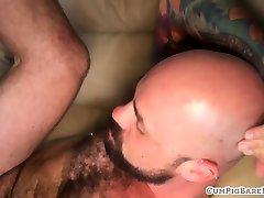 Cockring bears sucking before bareback sex