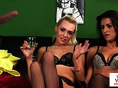 CFNM lingeried duo instructs sub to wank