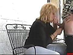 MILF Mom fucks and sucks son in public