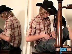 Skinny twinkie teases with his feet and masturbates solo