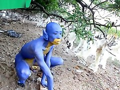 A Blue Digitmon Taking Off His Clothes Bodypaint Naked Body Art 1