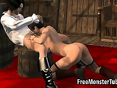 3D brunette sucks cock and gets fucked on a pirate ship