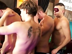 Handsome stud dildoing his ass before party