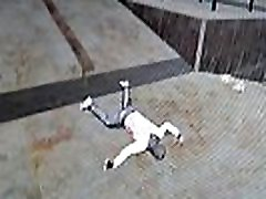 BDSM maniac hits his own balls in a dark garage.