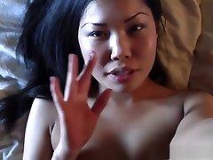 Self shot video of Asian amateur masturbating