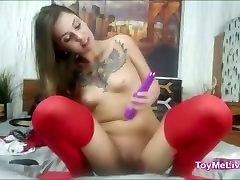 tattooed 19yo school asian hotmilf in red stockings and skirt