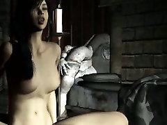 Pale 3D brunette babe enjoying getting fucked hard