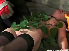 Stinging nettle xnxx deniles and amateur bondage of tortured slaveslut Lolani in ex