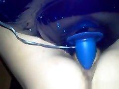 Skinny mature chick fucking blue dildo