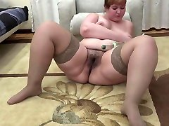 beautiful bbw, fucks his big hairy cunt with a bottle