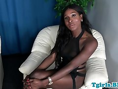 Bigtitted TS ebony loves stroking her bigcock