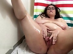 Amateur one girl lettering Oils Big Tits and Ass and Plays with bad master full nxxxx Pussy