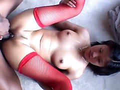Asia gets black cock inside her Asian ass