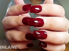 Red Fingernail Tapping Fresh Manicure PREVIEW - full vid on quinnlane.com