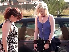 Lesbian domination of Satine Spark in public humiliation and voyeur bdsm in nipple clamps and punishments by her femdom