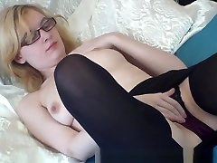 Real Blonde girl gives sensual blowjob Finger Rubbing Masturbating Coed with Nice Tits