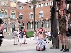 Bare Tits Redhead Disgraced In Public