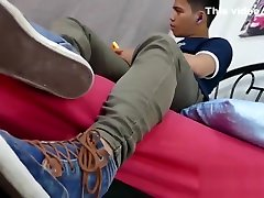 Skinny Asian twink teases with his feet and masturbates solo