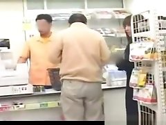 Busty japanese girl nuded and fucked in store