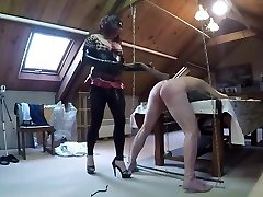 Mistress whips a sub slave
