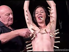 Pegged amateur slavesluts tit torture and kinky bdsm of submissive milf in extreme domination and brutal sanee leeonee punish