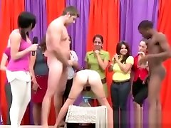 Classy clothed babes get fucked by naked guys in reality groupsex