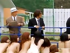 Strange Japanese mature ladies in taboo porn slaves outdoor group blowjobs
