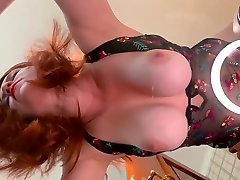 Redhead dani daniels lateat Milf suck off her tigts lesbian PAWG Fucking on Glass Table Bouncing Boobs