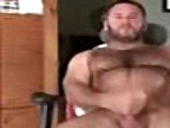 Sexy hairy bear jerking hot cock