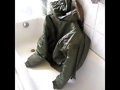 piss on green bomberjacket