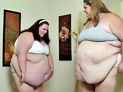 SSBBW Babes Sumo Smash Their purba xxx Bellies Into Each Other For Fat Slapping