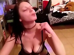 Girl handcuffes lucky guy and gives head while sil damij a cigarette