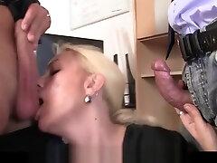 Skinny blonde old onani daisuki video woman swallows two cocks