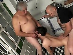 Two Grandpas share a young twink