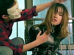 fx-tube.com Girl on leather single glove bondage