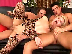 Hot blonde screaming in painful DP