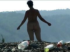 Mature woman with a big ass on a cum over little girls panties beach