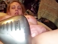 Slut girlfriend Haley squirts on back massager