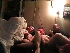 Dirty talking myteacher sex home slut tries a spitroasting threesome with 2 weird guys