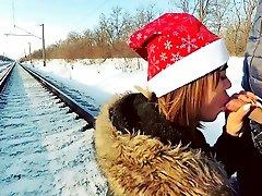 Winter outdoor slim smarart anal salvageanal on the railway