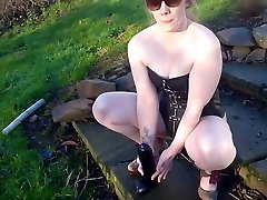 Sub Art Edging Cum Eating and Outdoor Piss Training for Fetish Slave Mom