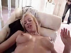 Handjob onto MILFs chest