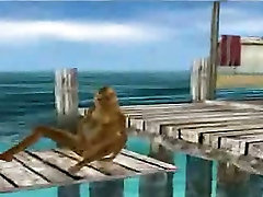 Hot 3D cartoon blonde masturbating on the beach