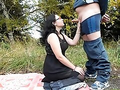 blowjob in the park mature couple, Cumshot on the face