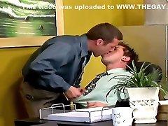 Horny gays having heppy ending tube in the office at work
