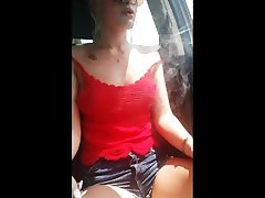 REAL AMATEUR GIRL SMOKES A CIGARETTE IN HER CAR