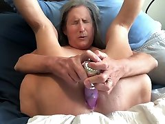 Hot MILF Pussy Gape Big Rabbit Masturbate Orgasm Close Up Mature Granny